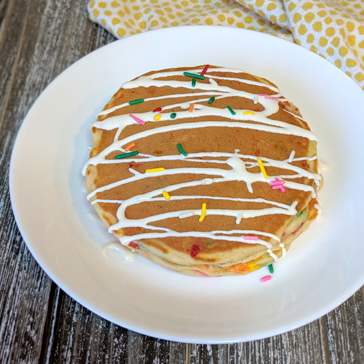 Awesome Festive Funfetti Birthday Cake Pancakes Bakes And Blunders Personalised Birthday Cards Veneteletsinfo
